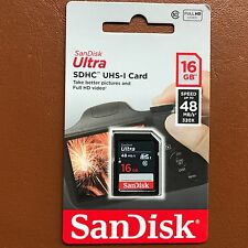 NEW SanDisk 16GB Ultra SDHC SD Card Class 10 UHS-I Memory Card 48MB/S For Camera