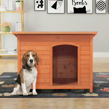 Outdoor Deluxe Slant-Roofed Wood Dog Pet House Shelter Kennel with Open Entrance