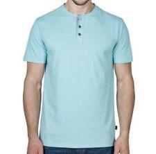 Lee Short Sleeve Henley Mens Shirt AQUA Color Sz MEDIUM NEW