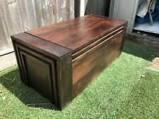 Dark Wood Trunk Chest Blanket Box Coffee Table