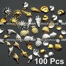 100 Pcs 10 Styles ocean series Alloy Seashells Nail Art Decoration #EG-164