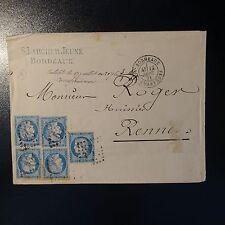 FRANCE CÉRÈS N°37 x5 SUR LETTRE COVER GC 532 BORDEAUX POUR RENNES SEPTEMBRE 1871