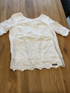 Ladies White Superdry Broderie Anglaise Top Size Small