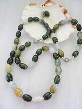 MIXED NEW JADE Smooth Polished  *REAL STONE* Necklace Bracelet & Earrings Silver