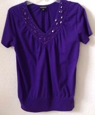 Women's MEDIUM Notations Purple Knit Top/Shirt Beaded 100% Cotton S/S Pre-Owned