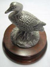 1977 RK Davis Chilmark Pewter Canada Goose # 1099 Signed w/ Oak Base