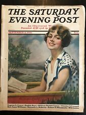 Saturday Evening Post Sep. 2 1926 Woman on a Lake Cover Art by John B. Crandell
