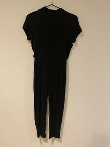 Missguided Black Jersey Jumpsuit With High Neck, Open Back & Cut Out Detail