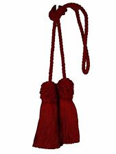 "Conso Trims Empress 21955 J19 Solid CHINESE RED Chair Tie 4"" Tassels 27"" Spread"