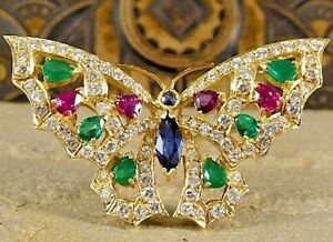 Black Friday 4.41CT NATURAL ROUND DIAMOND 14K SOLID YELLOW GOLD BUTTERFLY BROOCH
