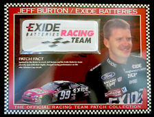 JEFF BURTON / EXIDE BATTERIES RACING Willabee & Ward NASCAR RACE TEAM PATCH Card