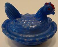 Vintage Glass Hen on Nest, Mini,HandPainted