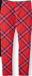 Wonder Nation Girls Tough Cotton Leggings Size Medium (7-8) Red Plaid NEW