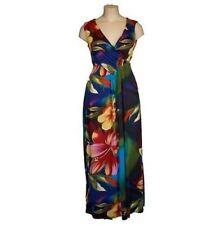 Full Length V Neck Jersey Floral Dresses for Women