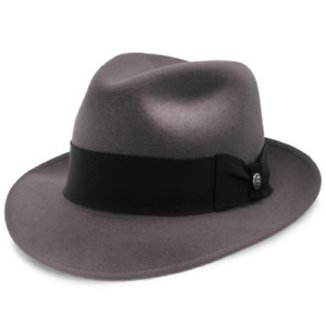 SALE Stetson Gray Color Wool Fedora Made in Texas, Leather Sweat Band