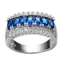 Amazing Women's White Gold Filled Sapphire and Crystal Ring Band  SZ 6 with gift