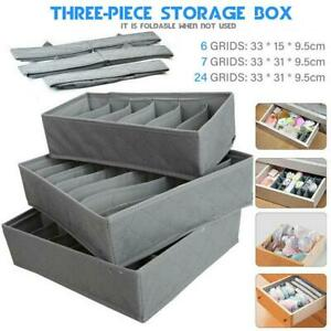 3 Pack Folder Storage Drawer Organiser Socks Bra Ties Draw Divider