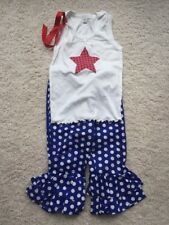 New Girls Patriotic Stars And Polka Dots Outfit Size 7 Handmade