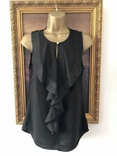 H&M Black Satin Panel Ruffle Front Gold Button Shortsleeved Top Blouse -36