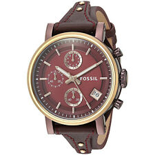 Fossil Original ES4114 Women's Boyfriend Sport Wine Leather Watch 38mm Chrono