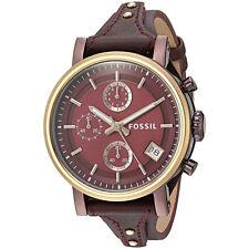 Fossil Original ES4114 Womens Boyfriend Sport Wine Leather Watch 38mm Chrono