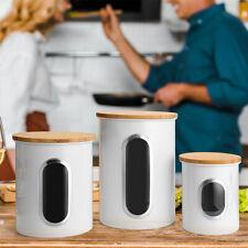 3PCS Kitchen Storage Tins Canister Set Bamboo Lid Tea Coffee Sugar Bread Bin Jar