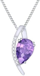 Simulated Alexandrite Teardrop Pendant With Prong Set  14k Gold Over Silver