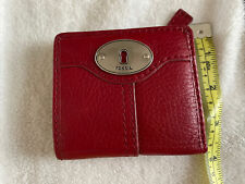 FOSSIL LEATHER BIFOLD MARLOW WALLET RUBY WINE RED