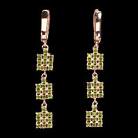 Unheated Round Green Chrome Diopside 2mm 925 Sterling Silver Earrings
