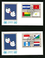 UNITED NATIONS 1989 FLAGS BLOCKS OF 4  ON 2 UNICEF OFFICIAL FDCs  NEW YORK SHS