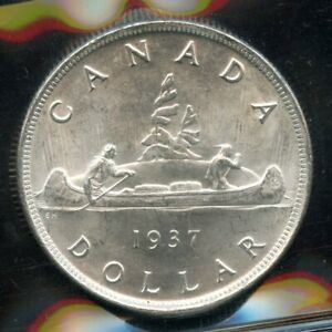 1937 Canada Silver Dollar Coin ICCS MS-64 - Nice!