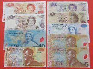NEW ZEALAND 2X10-2X1-3X5-2 & 5 DOLLARS BEAUTIFUL RARE 9 BANK NOTES