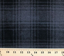 "Wool Plaid Black/Gray Grey 60"" Wide Wool Blend Fabric by the Yard D383.05"
