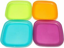 """Tupperware Plates Set of 4 Square Lunch Dishes 8"""" Luncheon Purple Blue Green"""