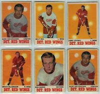 1970-71 O-Pee-Chee Detroit Red Wings 6 Card Team Set P to EX (031220)