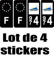4 Autocollants 2 paires Stickers style Auto Plaque Black Edition noir F+ 974
