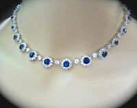 "14k White Gold Over 49.50ct Oval Sapphire & Diamond Cluster Tennis 16"" Necklace"