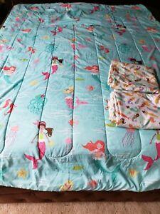 Mermaid Twin Bedding Set: Comforter, Sham, Twin Flat Sheet, Full Flat Sheet