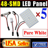 5 X Car Festoon T10 BA9S White LED 48SMD Panel Interior Dome Map Light Bulb Lamp