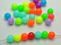100 Mixed Neon Color Acrylic Round Beads 10mm Smooth Ball Spacer