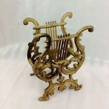 Vintage Retro Cast Iron Lyre Harp Gold Music Rack Stand Book Magazine Holder