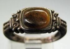 Vintage Antique Estate~Genuine Tiger's Eye 925 Sterling Silver Ornate Ring 6.75