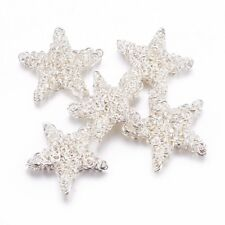100pcs/Lot Iron Wire Beads Christmas Theme Star Silver 25~28x5mm Xmas Decoration