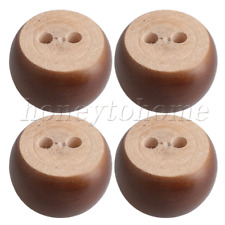 4 Pieces Brown Eucalyptus-Wood 67mm Dia Round Furniture Legs Feet for Sofas