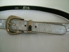 Vintage 70s Elite skinny silver leather chequerboard buckle belt, M L