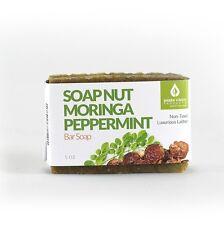 Soap Nut & Moringa, Peppermint Bar Soap, 5 ounces, All Natural, Non Toxic