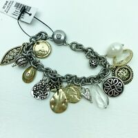 Chico's GWP Charm Bracelet gold tone silver tone costume Tag magnetic clasp