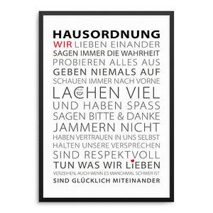 Hausordnung Kunstdruck ArtPrint Poster FineArt Typographie Familie Liebe Zuhause