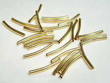 30 x Gold Plated Plain Metal Tube Spacer Beads: GPTS02