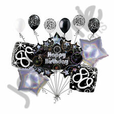 11 pc 80th Happy Birthday Balloon Decoration Party Elegant Adult Black White
